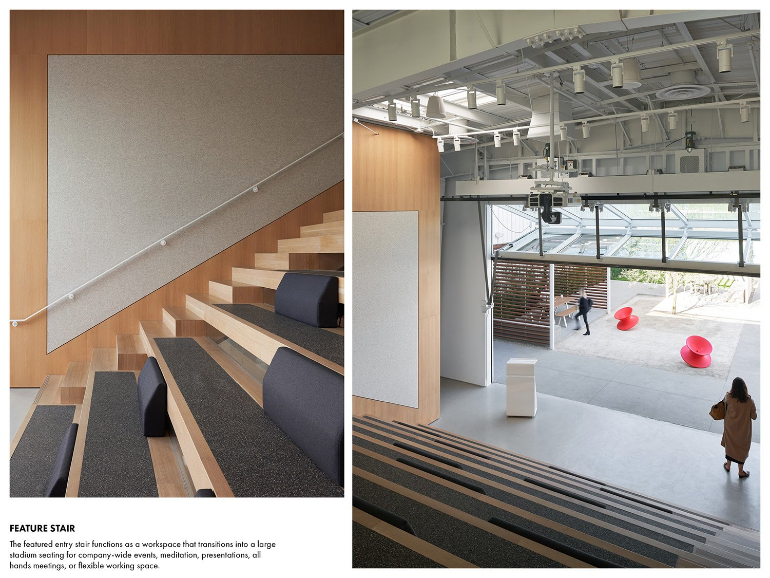 The featured entry stair functions as a workspace that transitions into a large stadium seating for company-wide events, meditation, presentations, all hands meetings, or flexible working space. Kevin Scott}
