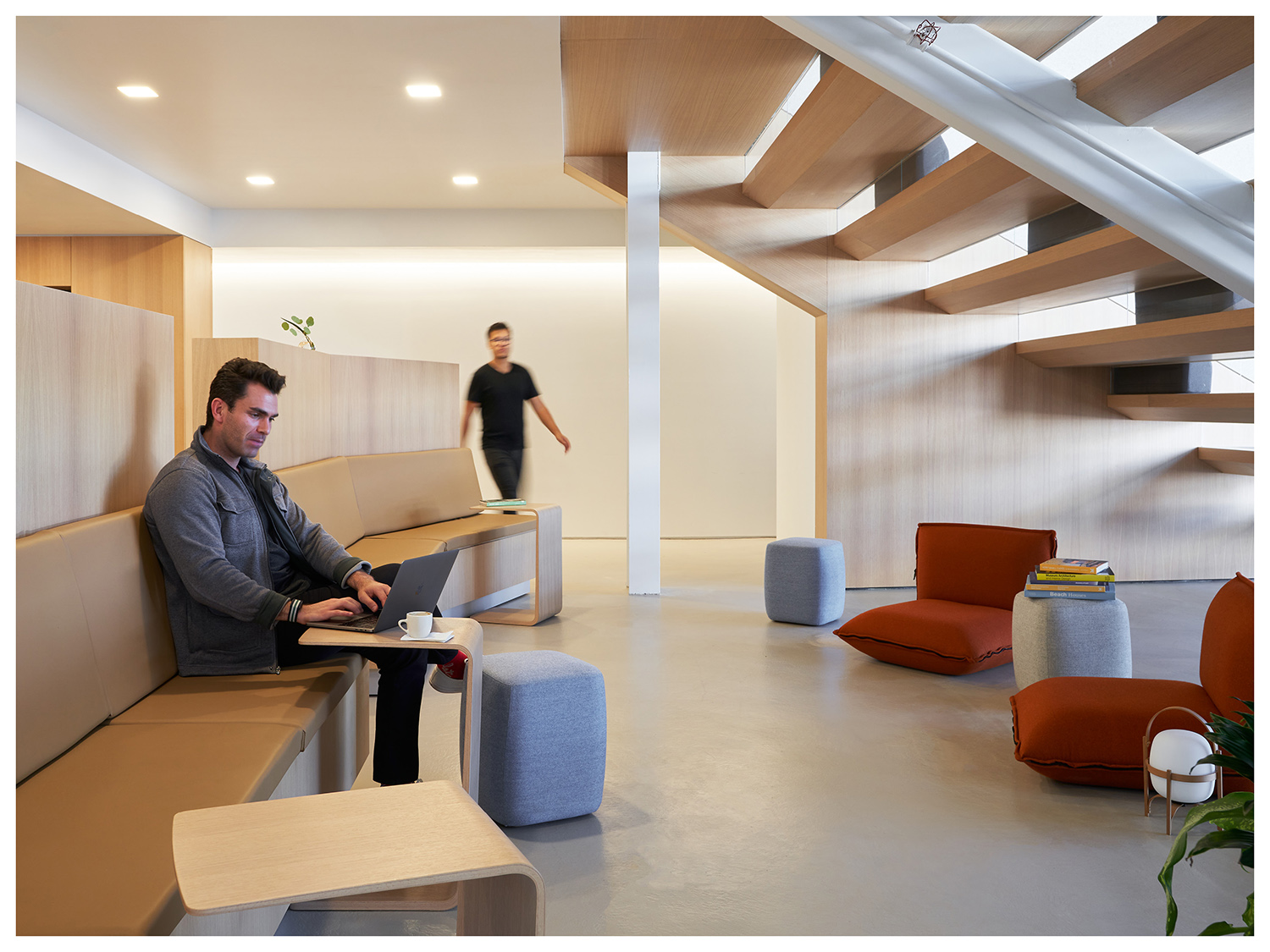 Using the area underneath the stairs for maximizing interaction and space. Kevin Scott}