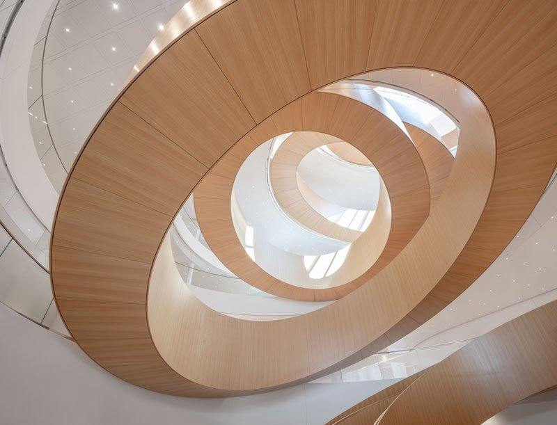 The staircase is a visual expression of the unity and collaboration between the staff and stakeholders and refers to the Olympic rings. © 2019 / International Olympic Committee (IOC) / 3XN / IttenBrechbühl / MØRK, Adam - All rights reserved.