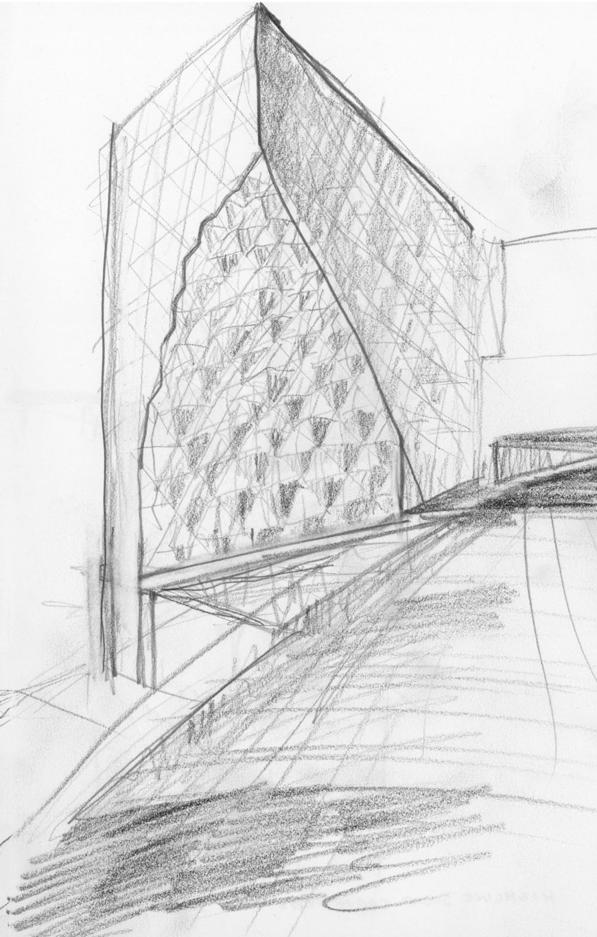 "Concept sketch by Jeanne Gang showing ""solar carving"" on the southeastern corner from the High Line. © Studio Gang}"