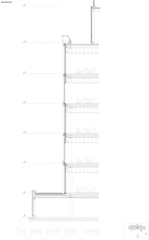 HEADQUARTER CHIESI_sezione verticale lato nord EFA studio di architettura}