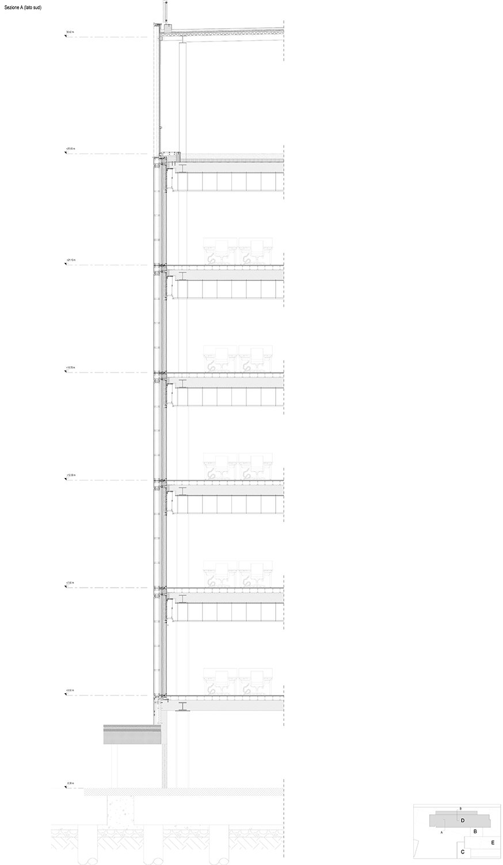 HEADQUARTER CHIESI_sezione verticale lato sud EFA studio di architettura}