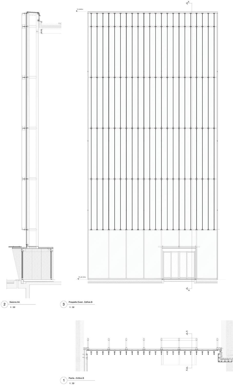 """HEADQUARTER CHIESI_sezioni edifico """"B""""_l'atrio EFA studio di architettura}"""