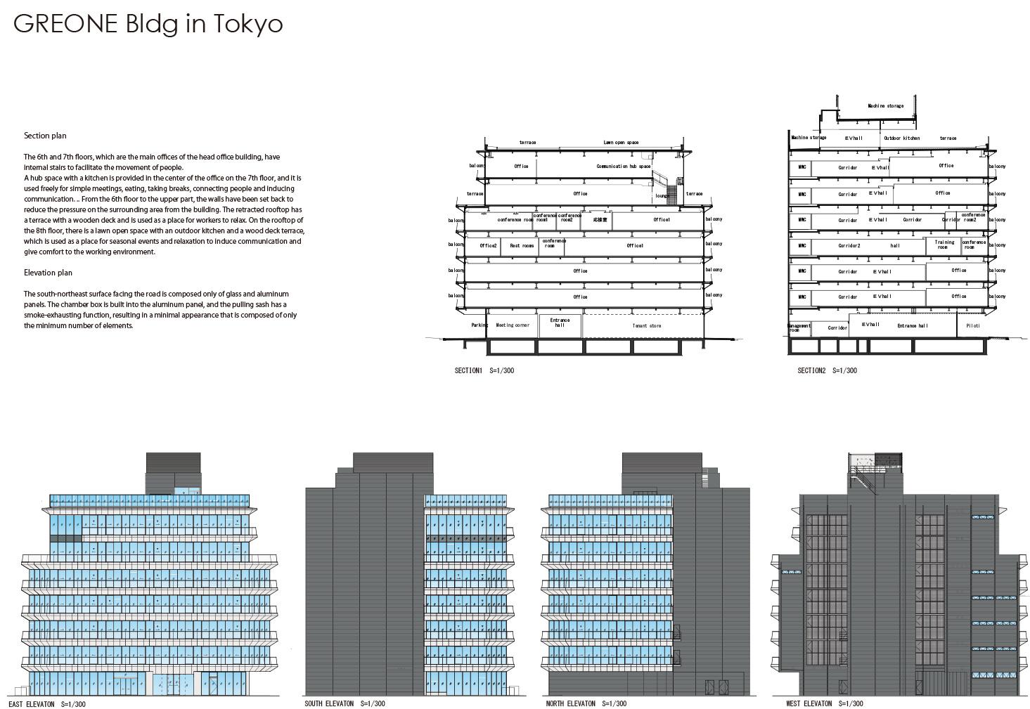 Section plan/elevation plan Nacása & Partners Inc.}