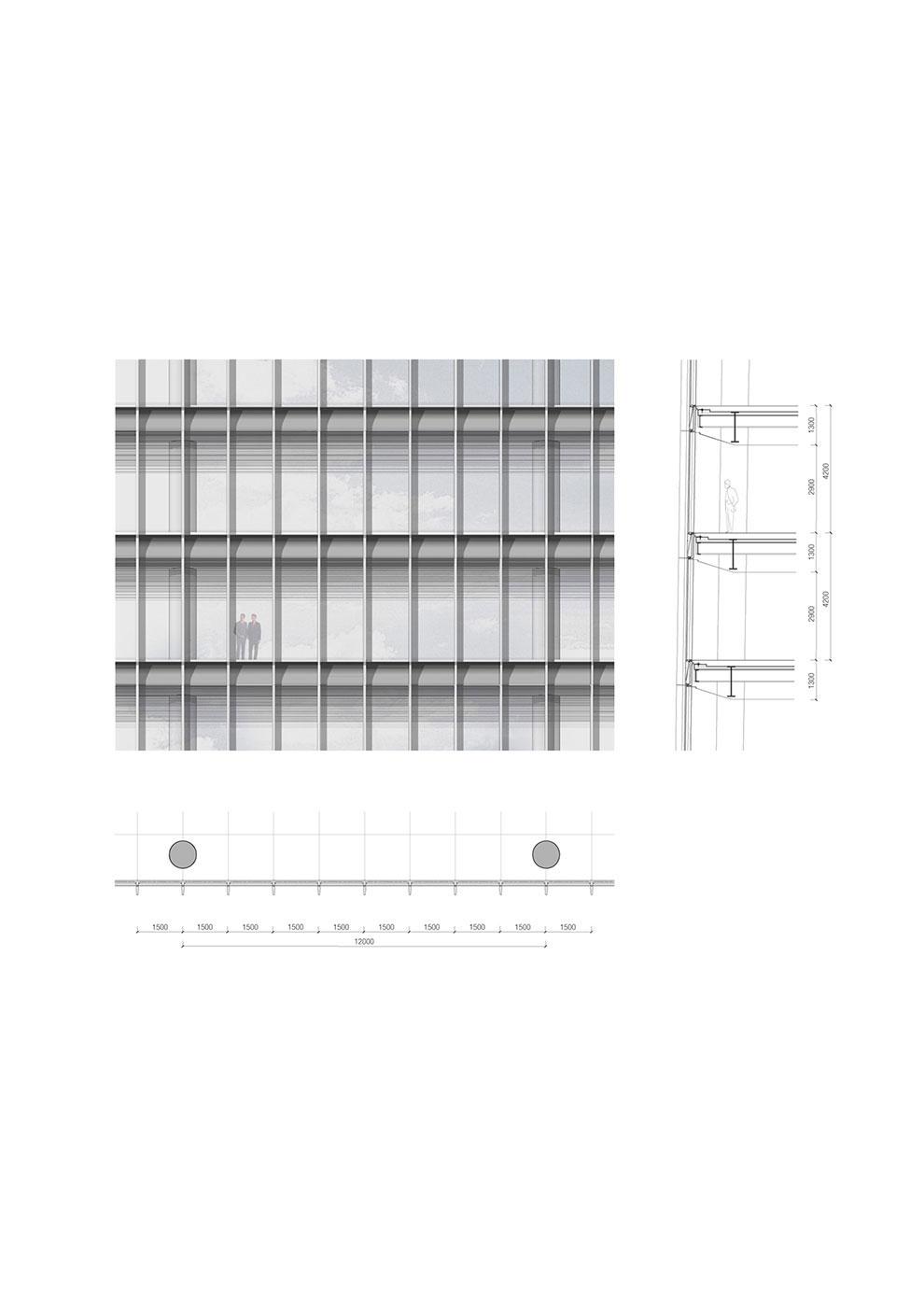 tower low zone facade detail Jaeger Kahlen Partners Architects Ltd.}