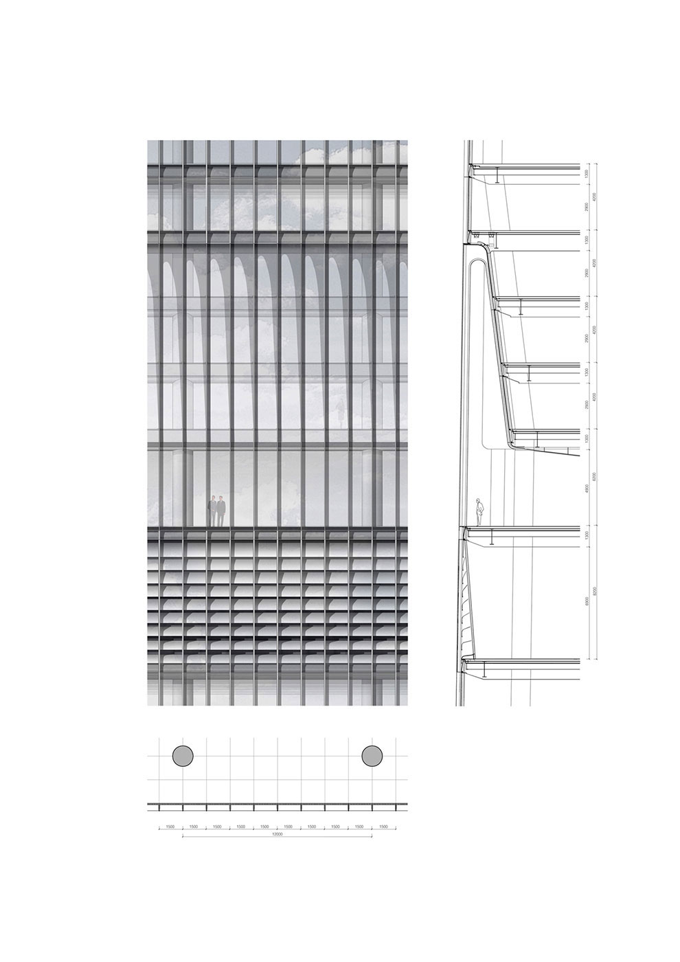 tower mid zone facade detail Jaeger Kahlen Partners Architects Ltd.}