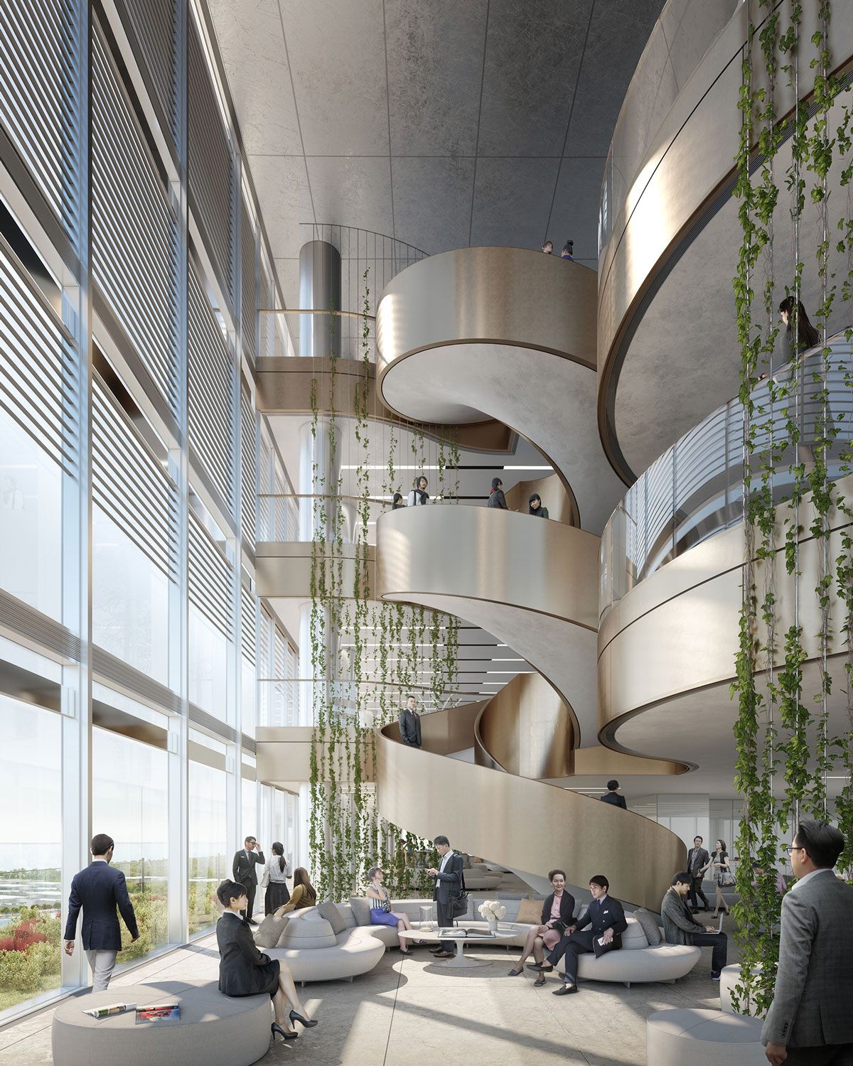 Interior staircase View Render Jaeger Kahlen Partners Architects Ltd.