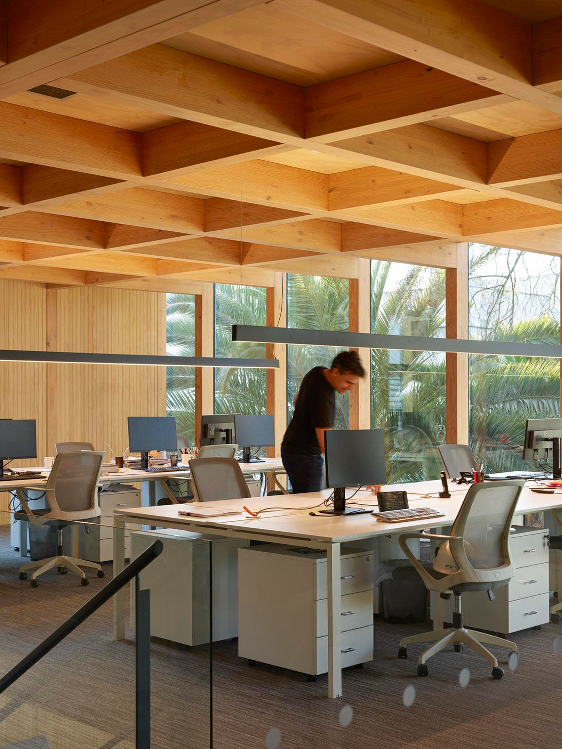 mass timber coffered ceiling Roland Halbe