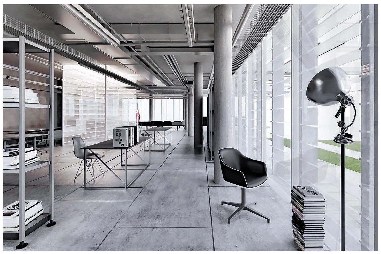 vista del primo piano, area uffici Riccardo Renzi, Mario De Stefano, Claudio Piferi, DIDA-UNIFI