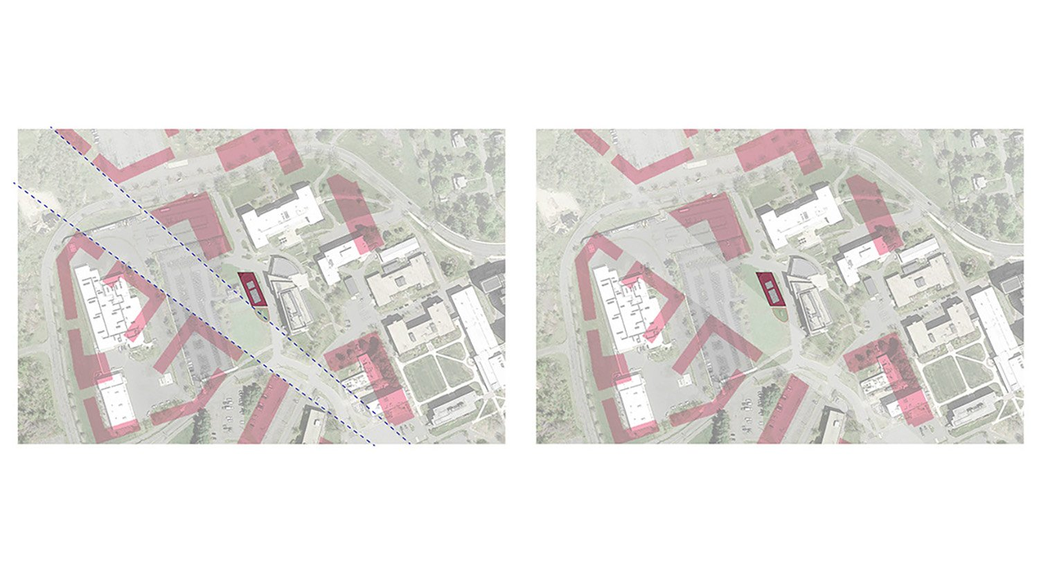 "UMass Amherst Future Campus Masterplan with the ""Feather"" and Campus Grid Leers Weinzapfel Associates}"