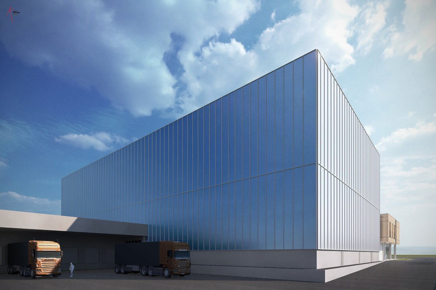 Automated warehouse_north facade Rendering by Jacopo Berlendis, courtesy of Atelier Cappochin