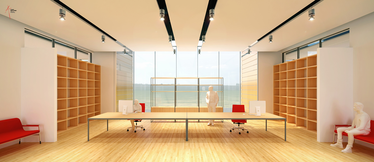 Office desk/lobby first floor Rendering by Jacopo Berlendis, courtesy of Atelier Cappochin