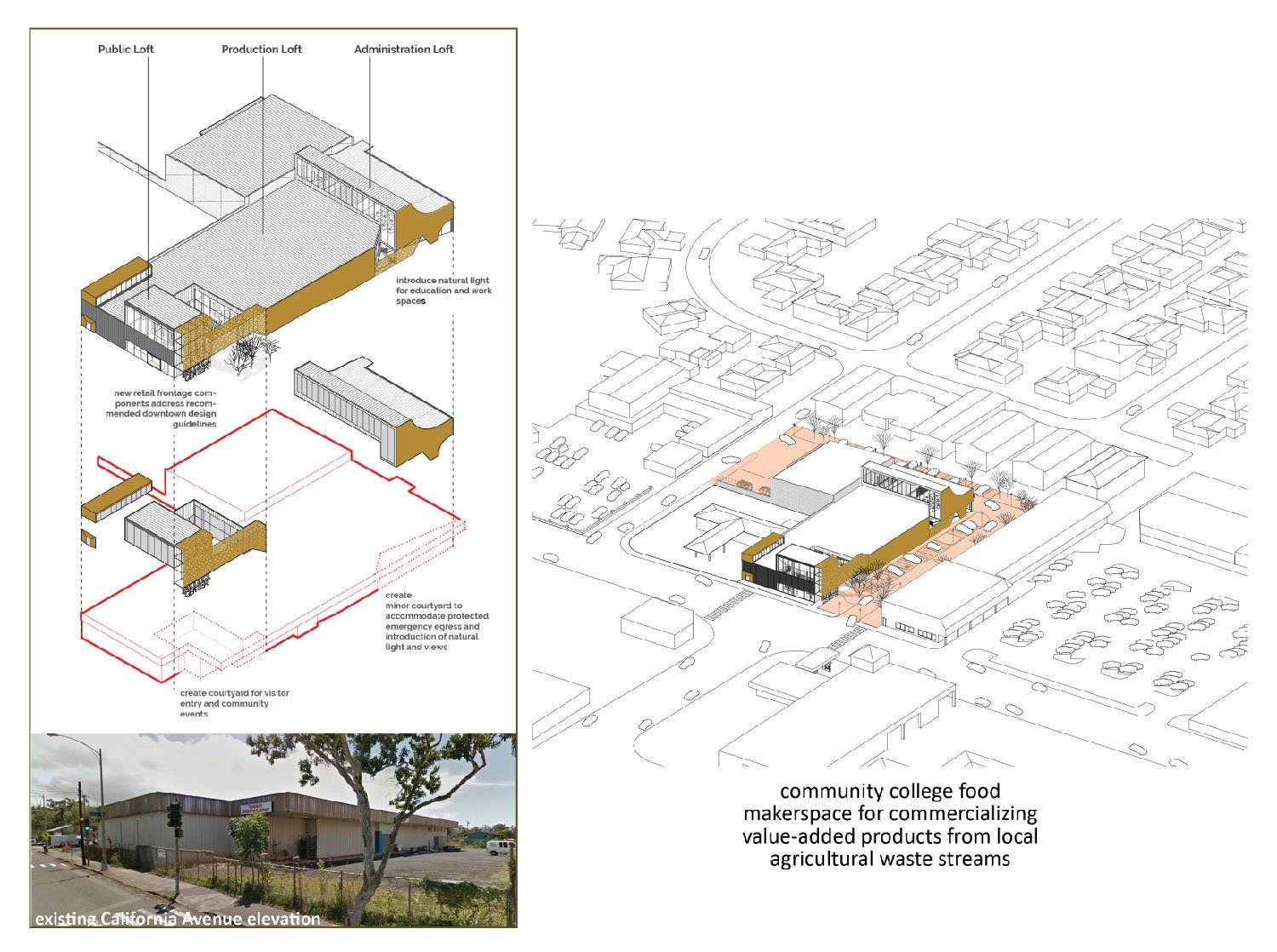 An adaptive reuse of an existing metal warehouse in downtown Wahiawa. University of Arkansas Community Design Center}