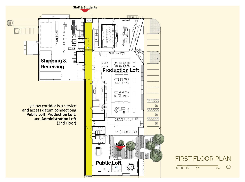 Yellow logistics corridor connects isolated Public Loft, Production Loft, and Admin Loft. University of Arkansas Community Design Center}