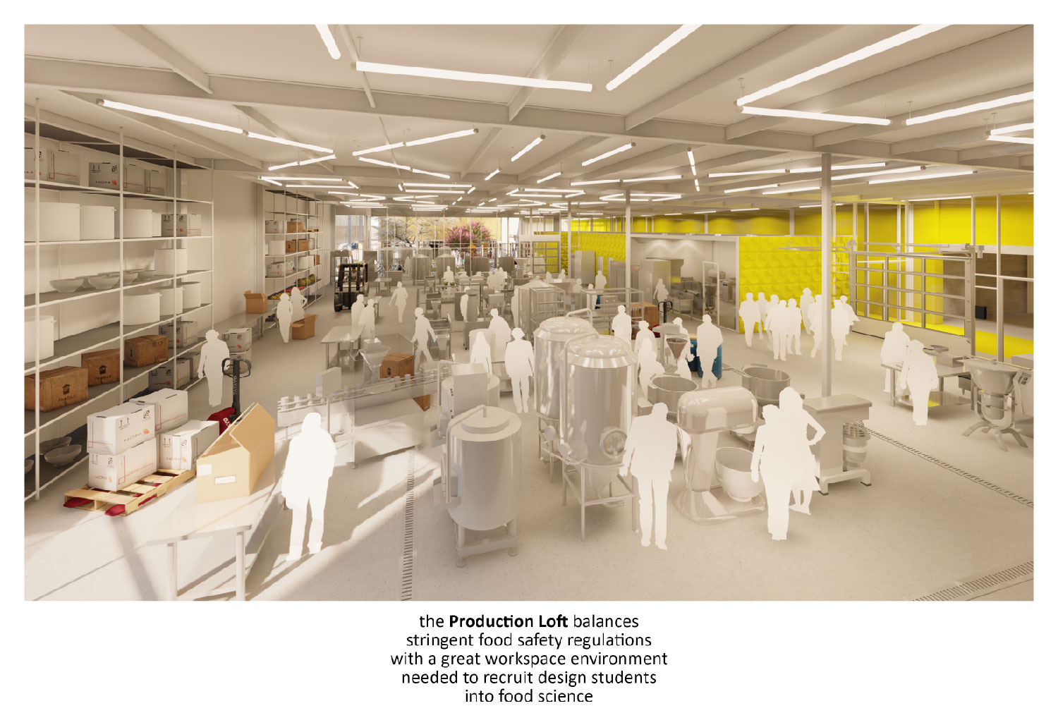 5Production Loft balances demands of food safety regulations with a great workspace environment. University of Arkansas Community Design Center}