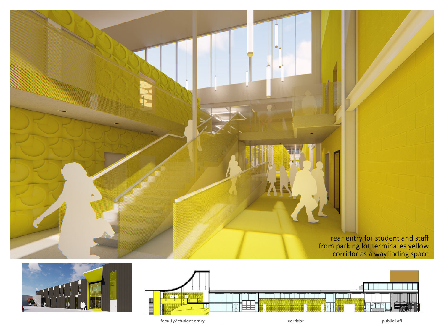 Entry for students from parking lot terminates yellow corridor as a facility wayfinding space. University of Arkansas Community Design Center}