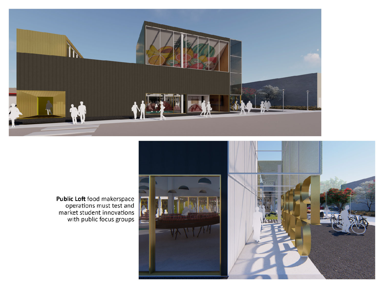 The Public Loft is a street-front exhibition gallery that connects street and entry courtyard. University of Arkansas Community Design Center}