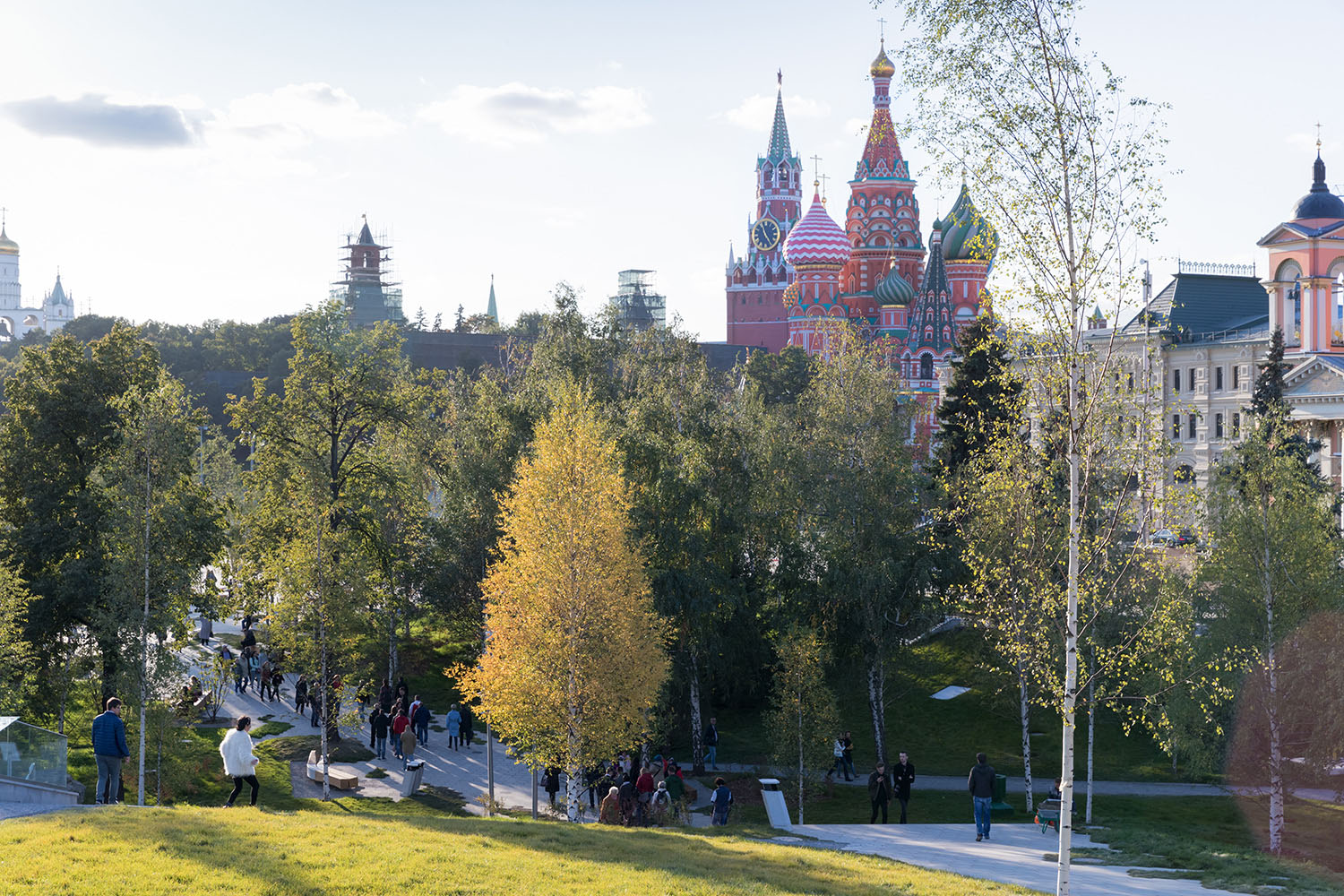 Birch Forest Landscape Zone: View of St. Basil's Cathedral, Zaryadye Park Photography by Iwan Baan