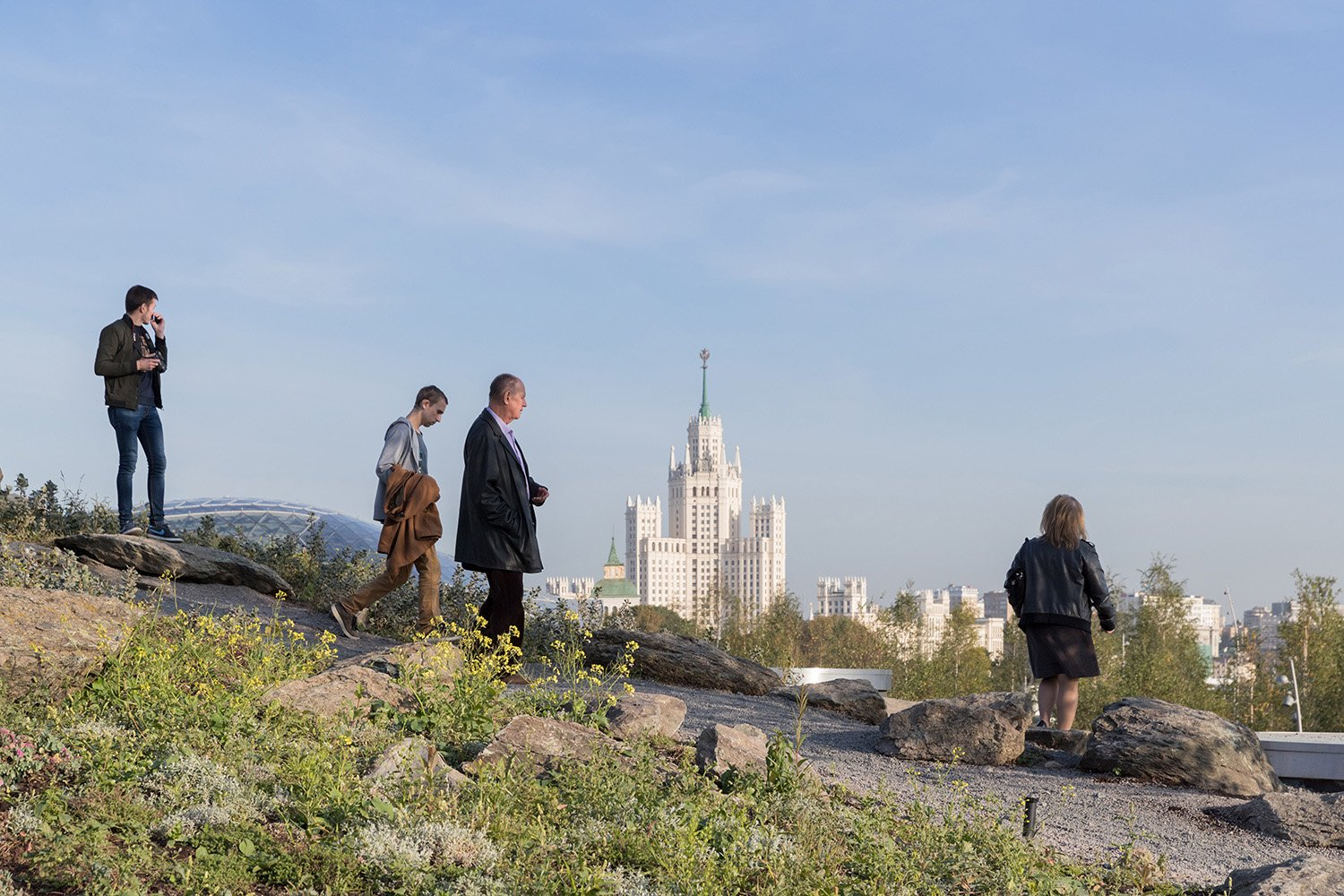 Steppe Landscape Zone: View of Stalin-Era Skyscaper and Glass Crust, Zaryadye Park Photography by Iwan Baan