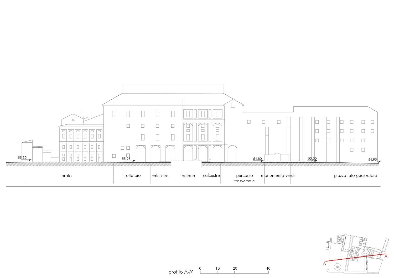 Piazza della Pace: profilo A-A EFA studio di architettura}