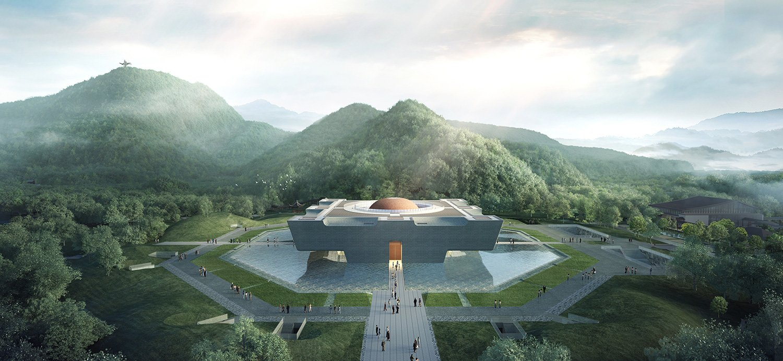 Da Yu Memorial Hall - Perspective diagram of the single building © UAD