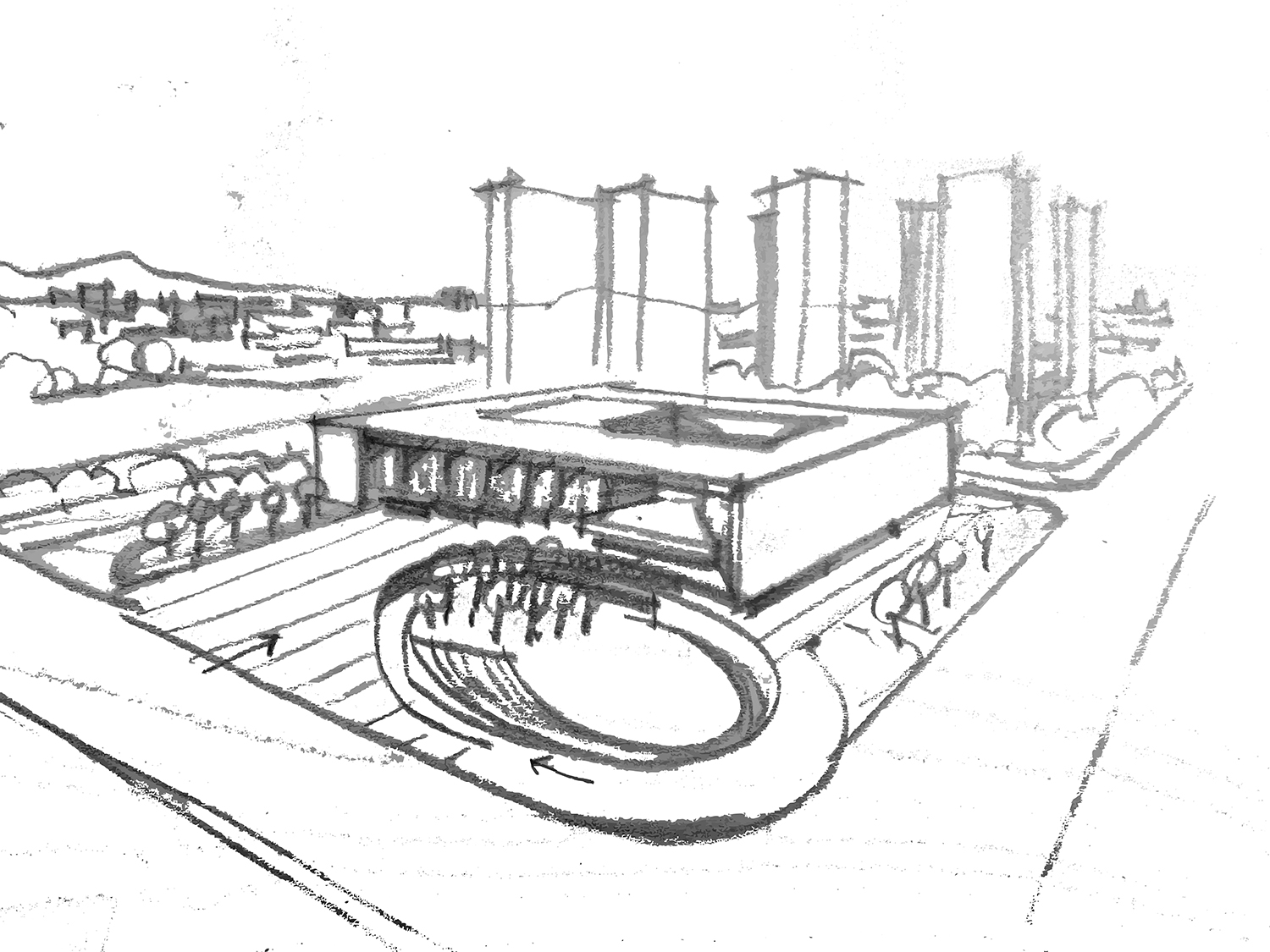 Hand drawing The Architectural Design & Research Institute of Zhejiang University}