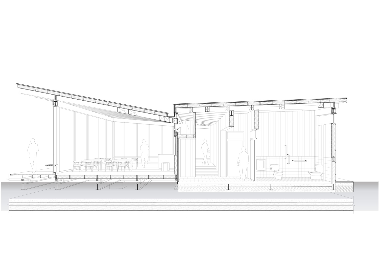Perspective Section of River View Service Station No. 4 (East-west Sectioning) Atelier Z+}