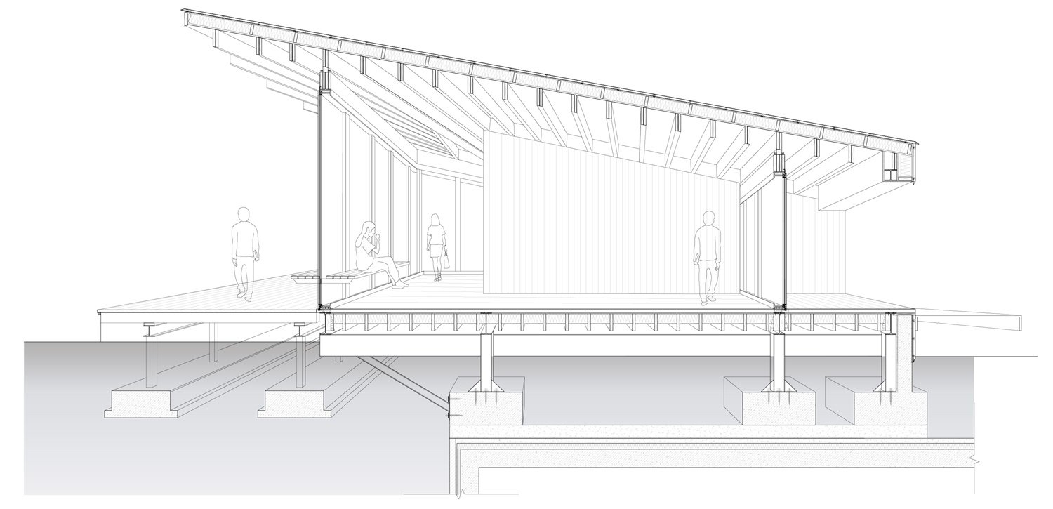 Perspective Section of River View Service Station No. 5 (South-north Sectioning) Atelier Z+}