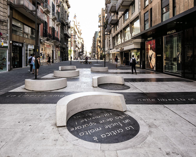 Salotto Letterario - dettaglio pavimentazione e seduta Luigi Filetici