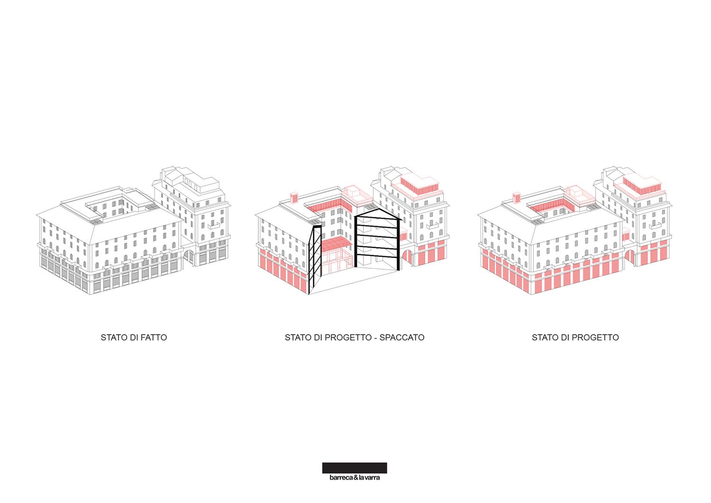 Assonometria: l'edificio esistente e gli interventi di progetto Barreca&LaVarra}