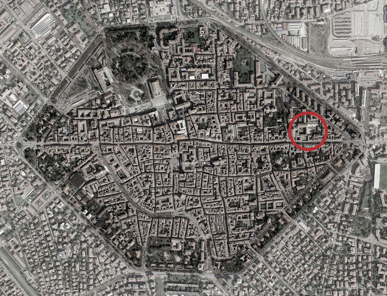 Historic center of Reggio Emilia, orthophoto with Cloisters of San Pietro ZAA}