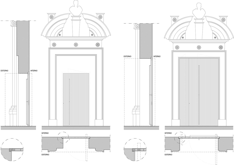 Monumental body, brass doors drawings ZAA}