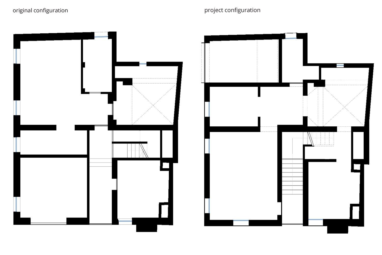 Ground Floor - Original and Project Configuration NAT OFFICE - christian gasparini architect}