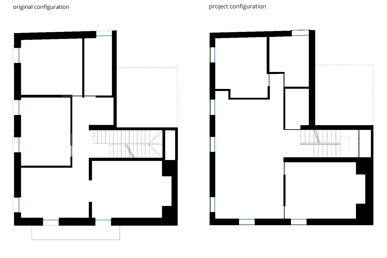 First Floor - Original and Project Configuration NAT OFFICE - christian gasparini architect}