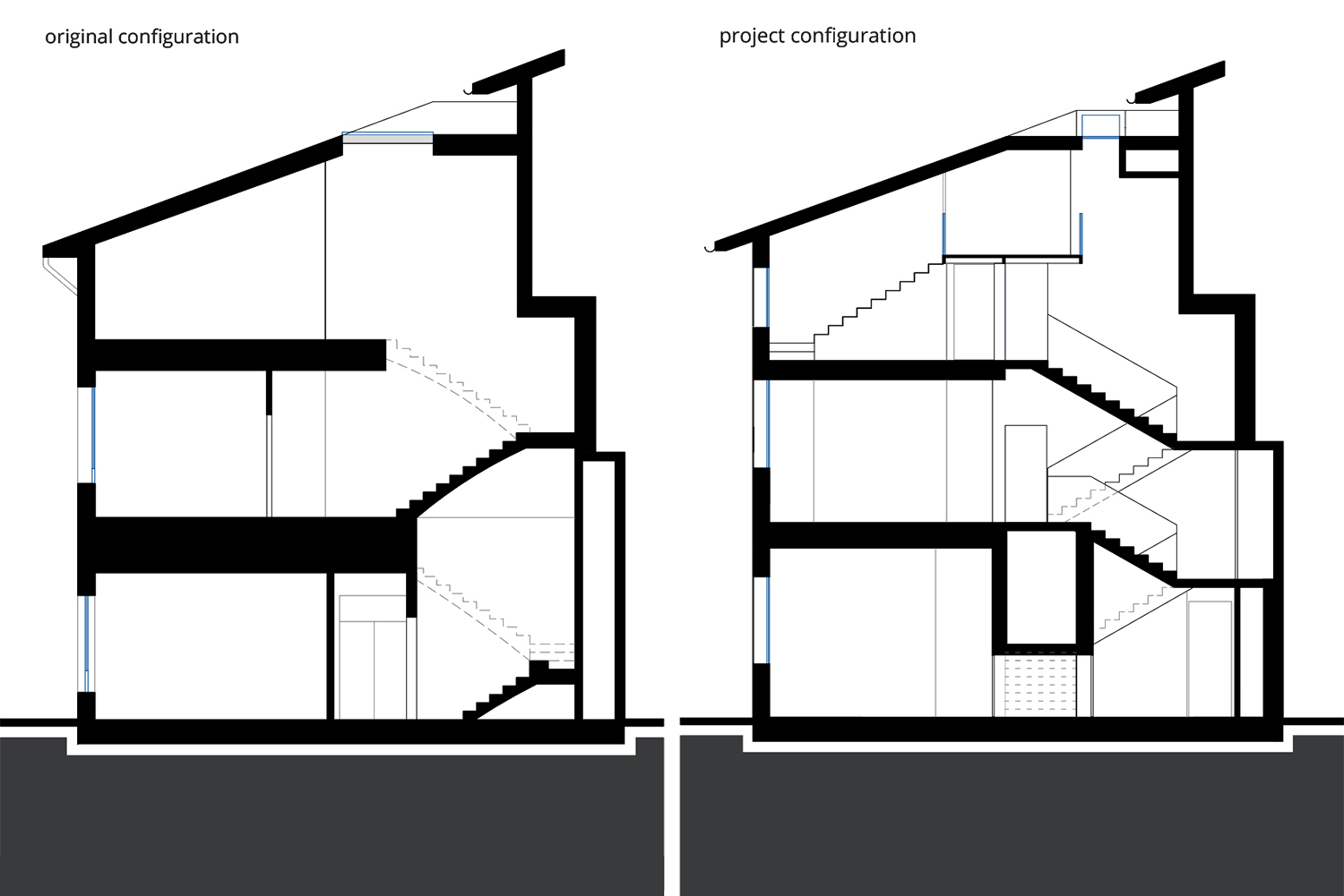 Cross Section - Original and Project Configuration NAT OFFICE - christian gasparini architect}