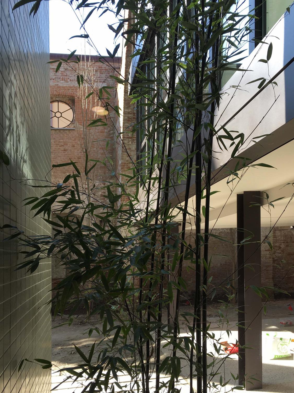 La parete del vano ascensore e sullo sfondo la struttura in mattoni Domenico Farinaro