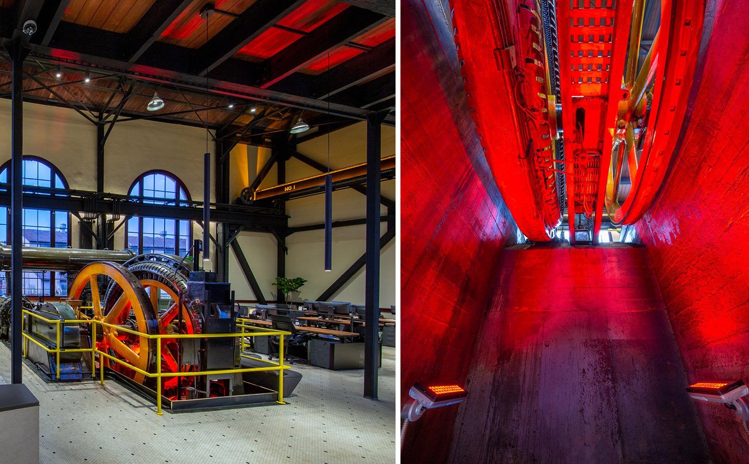 The preserved and refurbished historic compressor is dramatically lit with LEDs from below. Photographs by Billy Hustace}