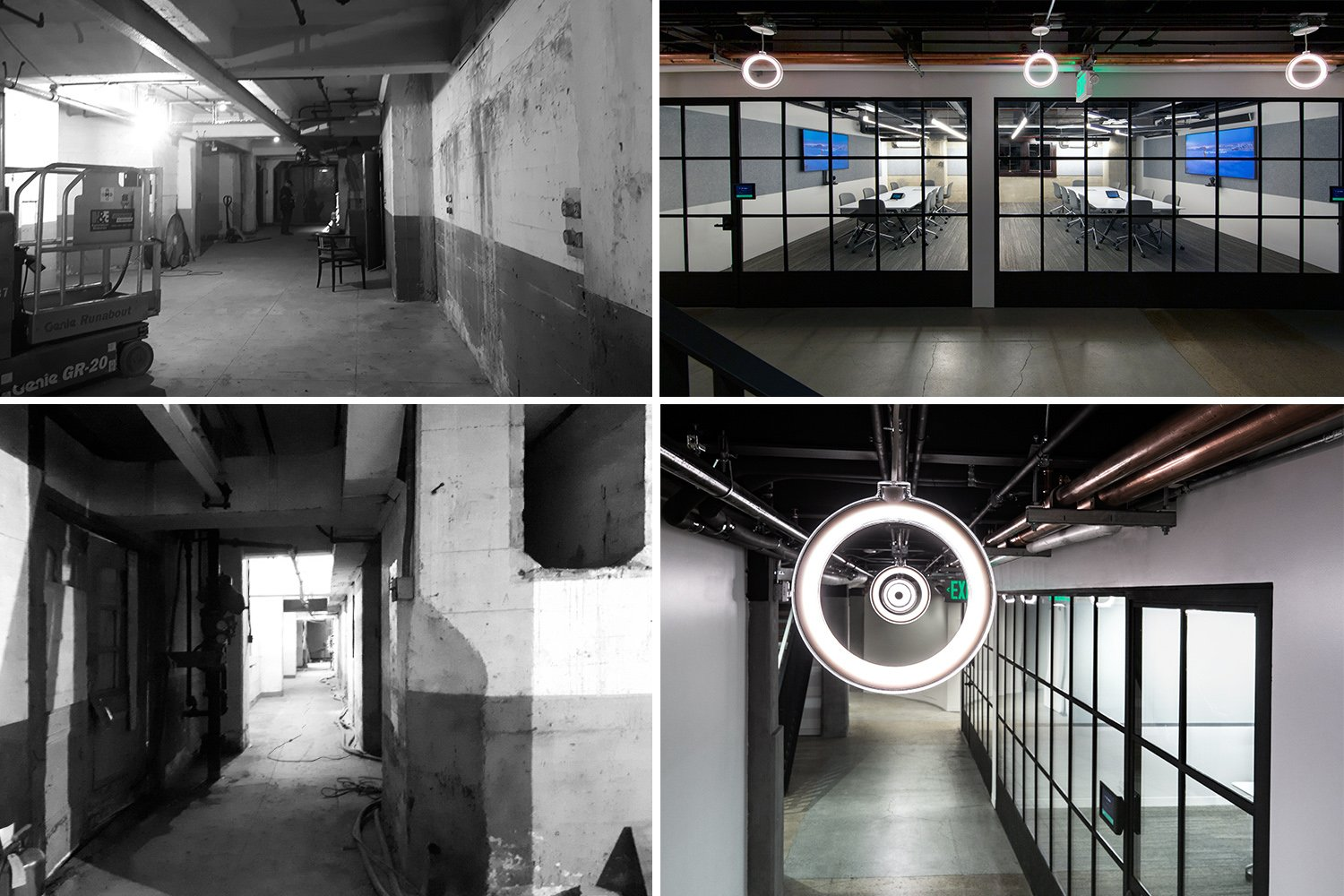 The lower level of the Powerhouse before (left) and after renovation (right). Right: Photographs by Billy Hustace}