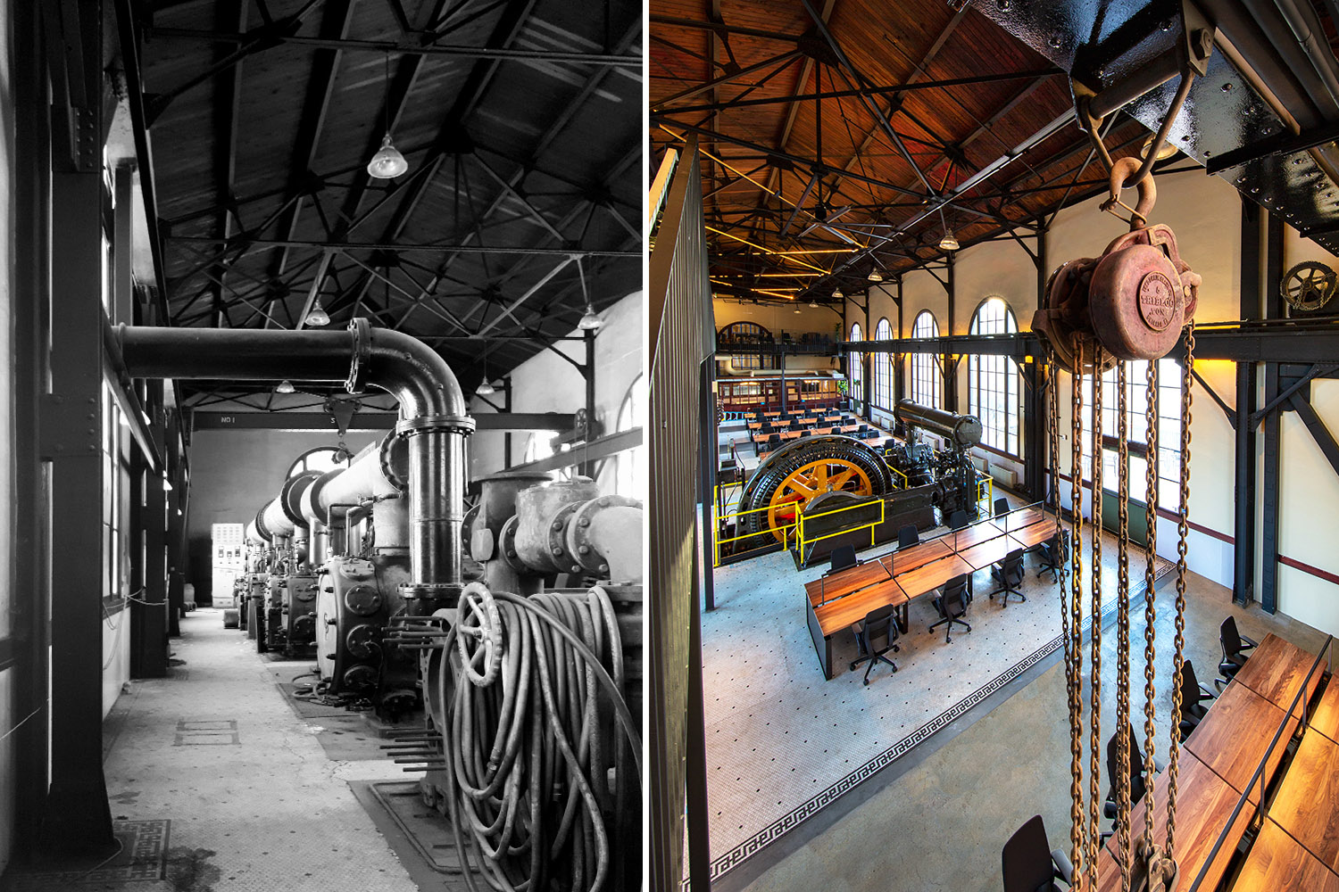 Elements of the building's industrial past (left) were preserved, such as a restored original compressor, gantry cranes, and pulleys (right). Right: Photograph by Billy Hustace}