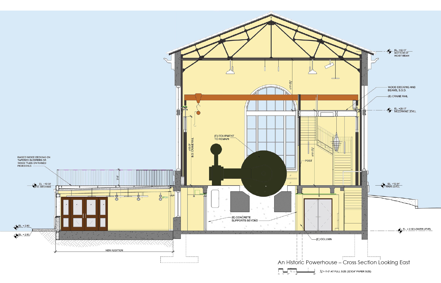 Cross-section drawing looking east. To make room for re-use of the building, the interior is cleared out except for one salvaged and refurbished historic compressor. A new 2,600 SF addition to the lower le Marcy Wong Donn Logan Architects}