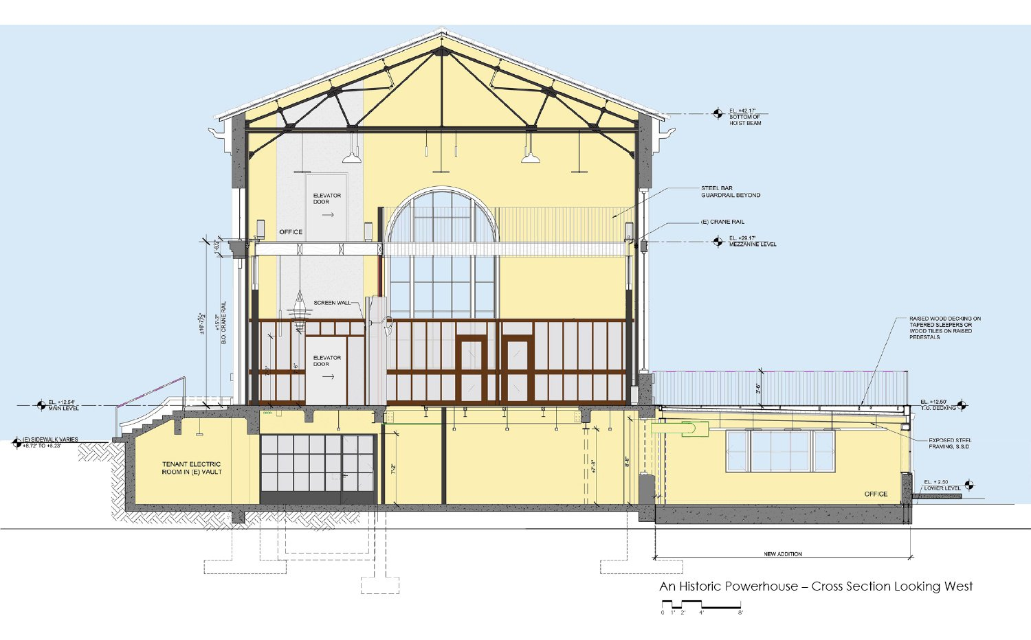 Cross-section drawing looking west. In the lower level, daylight access was managed programmatically. The new addition, with views to the rest of the historic district and a waterfront park, is used for wo Marcy Wong Donn Logan Architects}