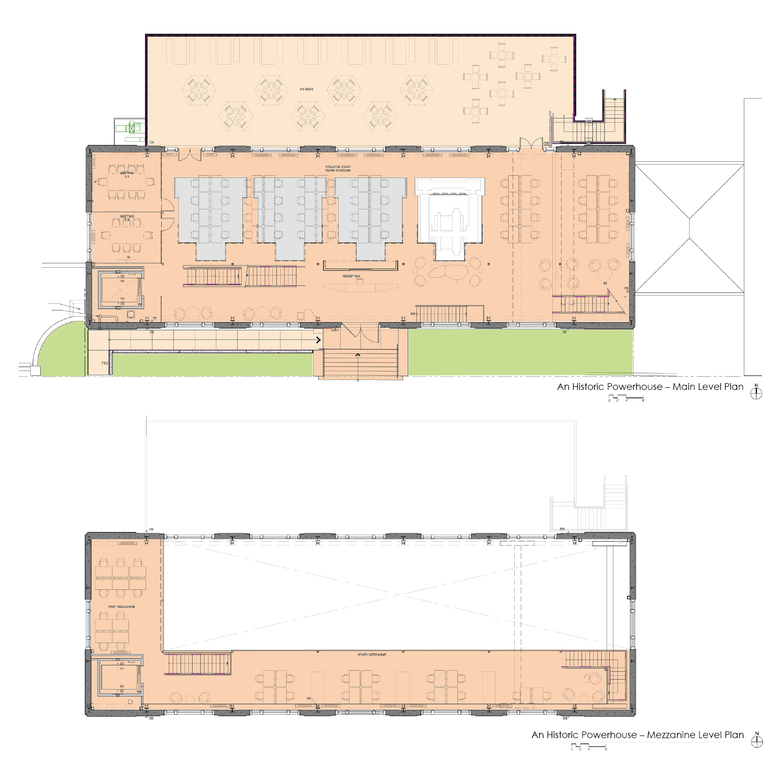 Floorplans of the main level and mezzanine level. Marcy Wong Donn Logan Architects}