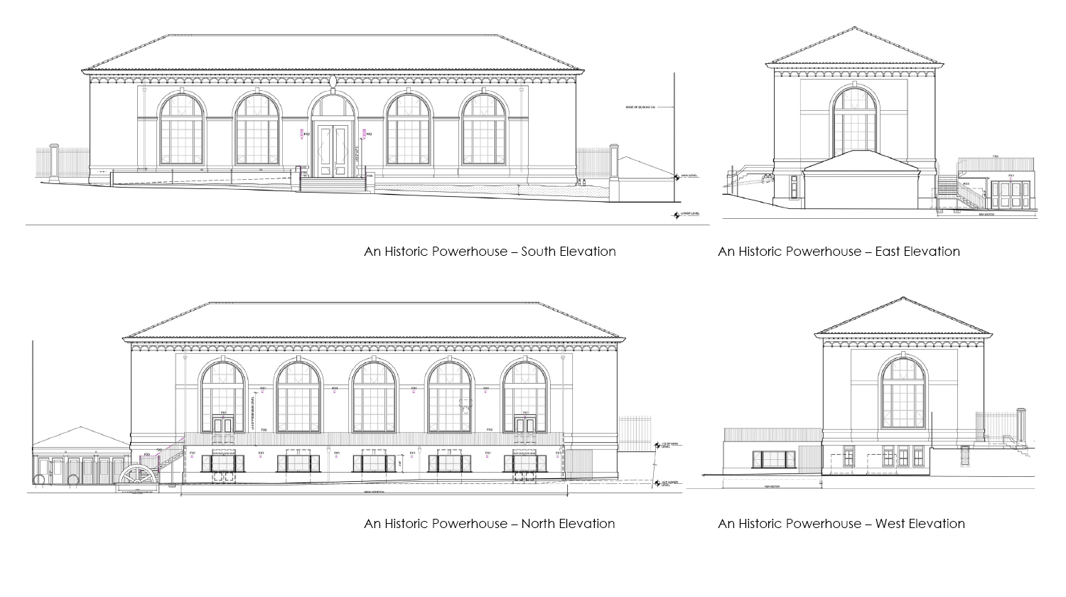Exterior elevations of the historic powerhouse. Marcy Wong Donn Logan Architects}
