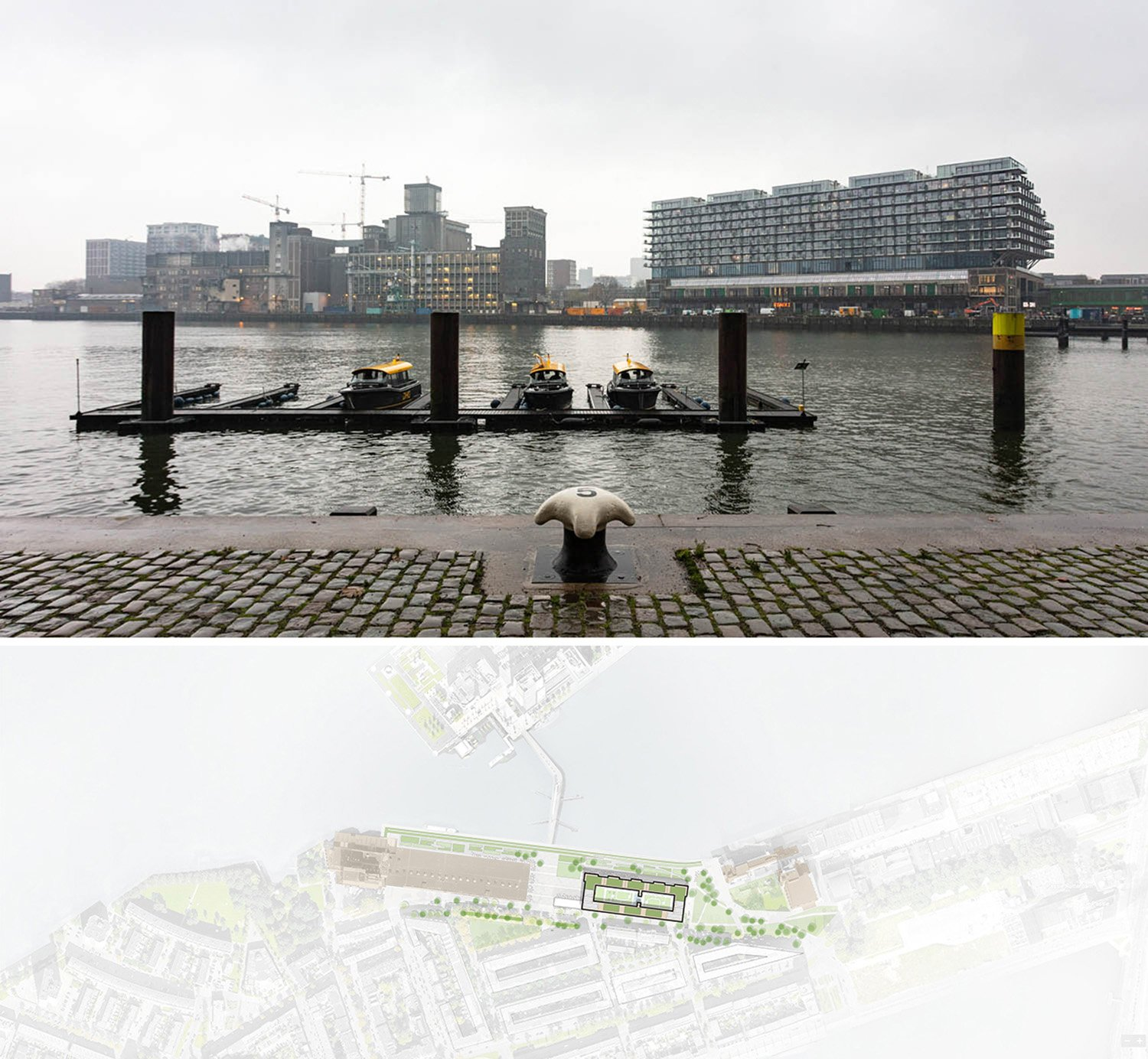 Mei architects and planners - Fenix I - Rijnhaven side and siteplan Marc Goodwin