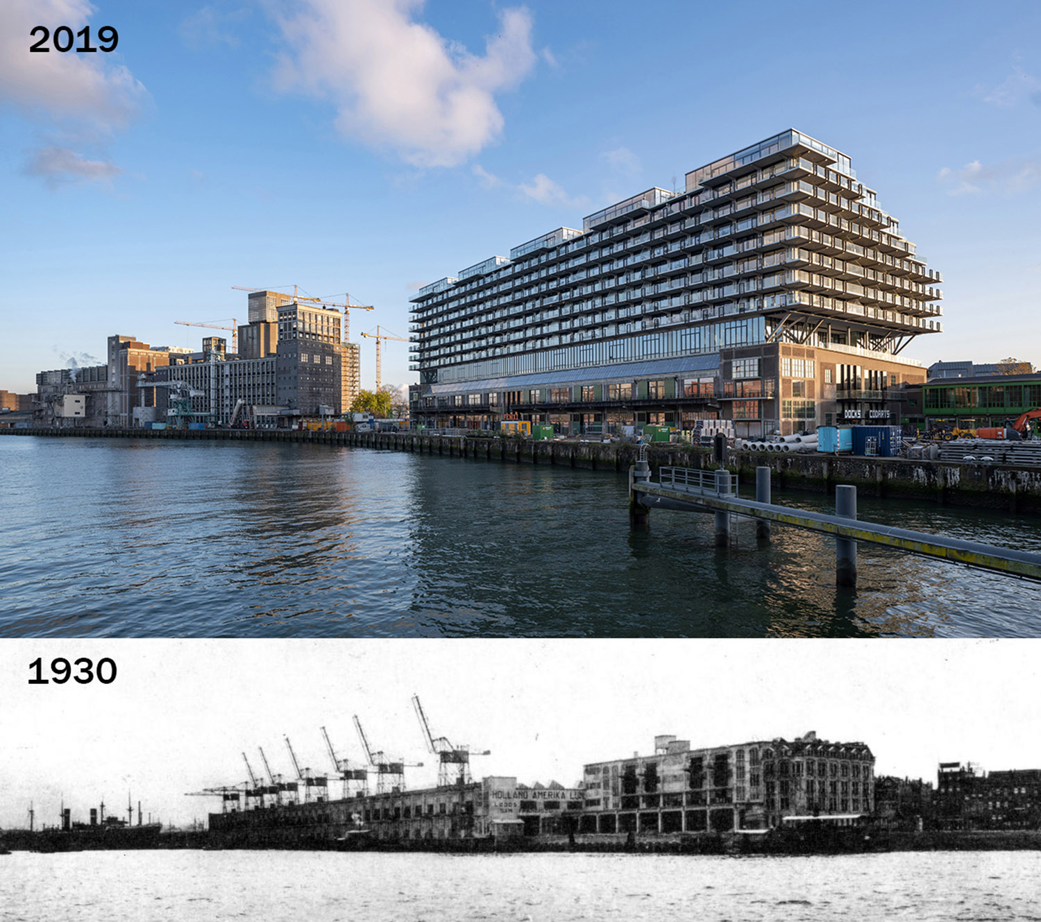 Mei architects and planners - Fenix I - Rijnhaven side and historical photo Ossip