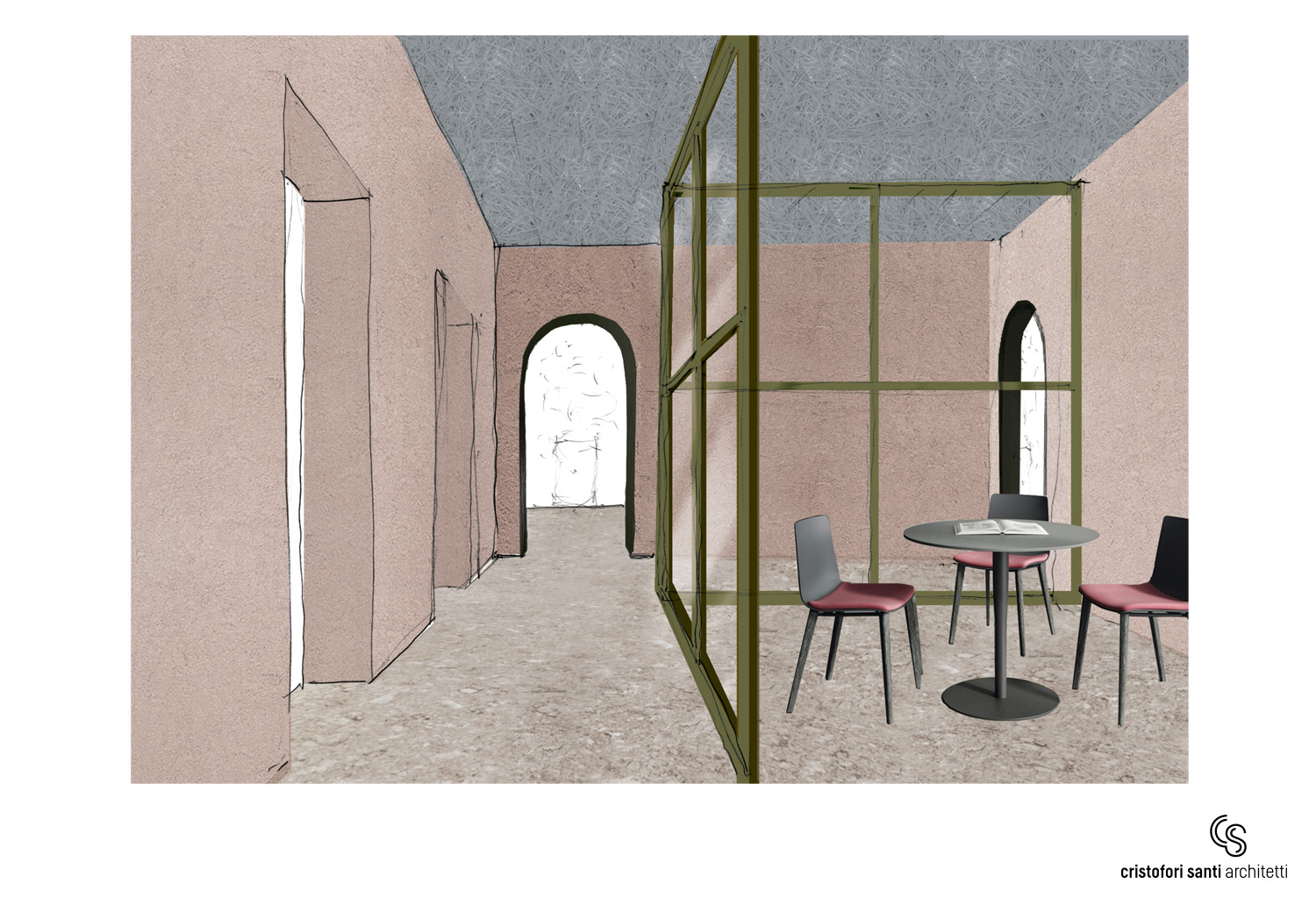 SKETCH MEETING ROOM RADICAL MOOD CRISTOFORI SANTI ARCHITETTI ASSOCIATI}