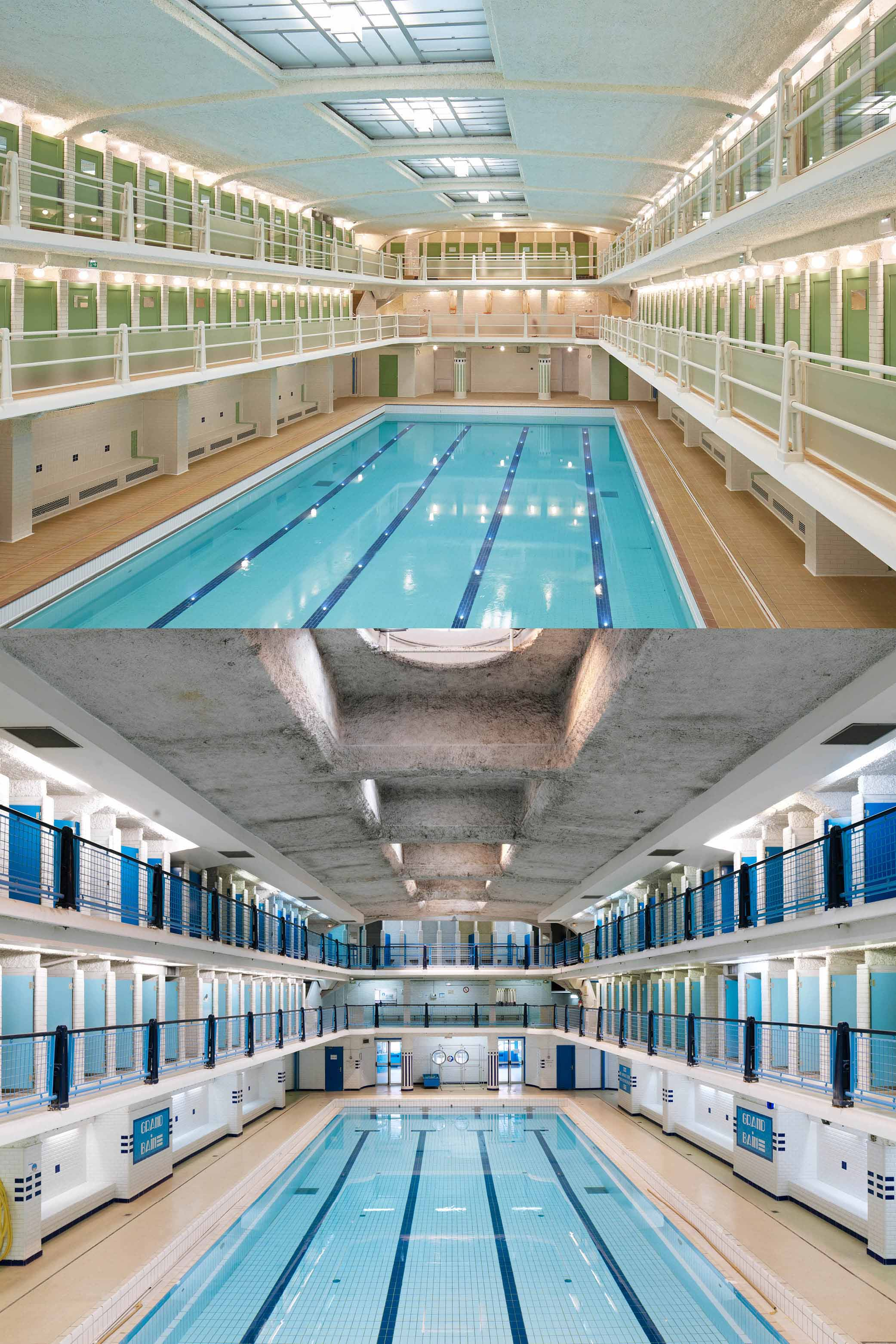 The Amiraux swimming pool before and after the renovation campaign © Antoine Mercusot/Cyrille Weiner}