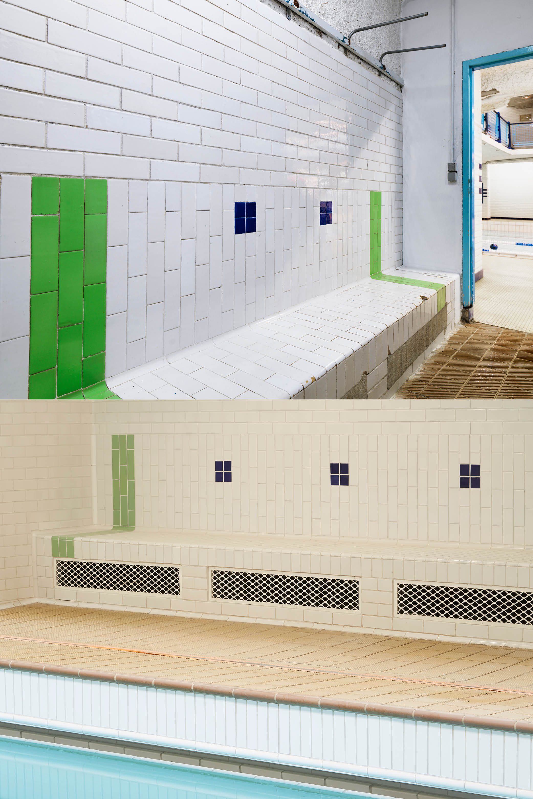 The Amiraux swimming pool before and after the renovation campaign © Cyrille Weiner/Antoine Mercusot}