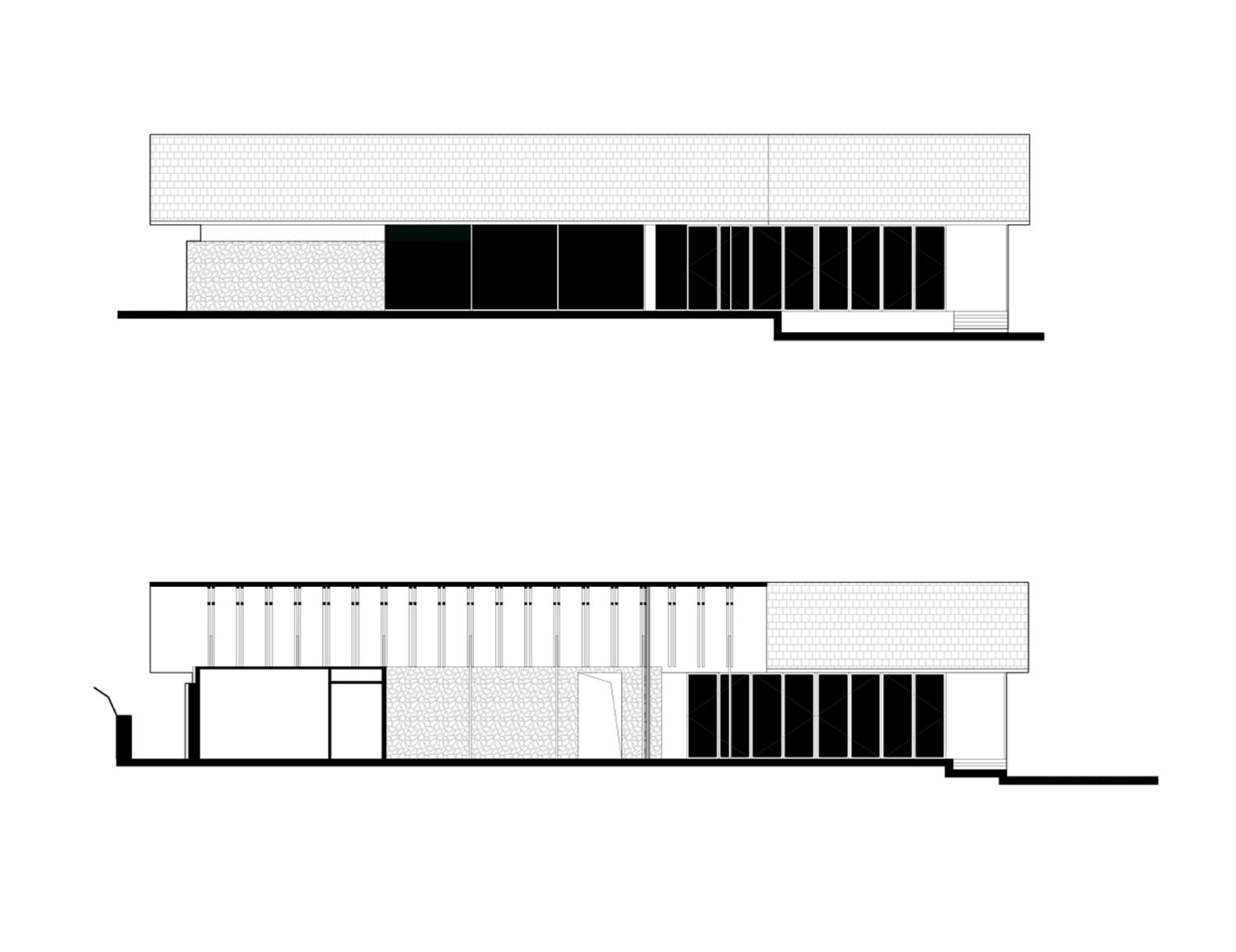 elevation and section of restaurant gad · line+ studio}