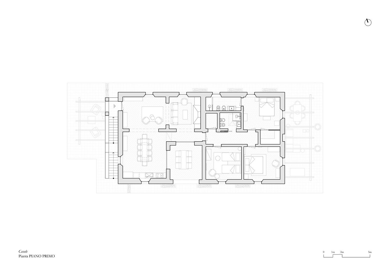 Pianta Casale Appartamento B_Piano primo @Arch. Alessandra Cipriani}